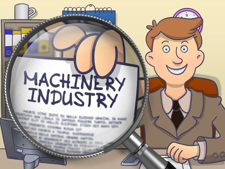 enginery: Machinery Industry. Paper with Concept in Businessmans Hand through Magnifying Glass. Multicolor Modern Line Illustration in Doodle Style.