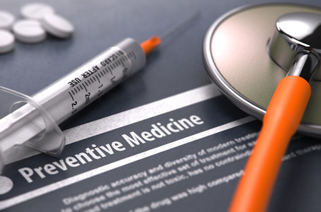 preventive medicine: Preventive Medicine - Printed Diagnosis on Grey Background and Medical Composition - Stethoscope, Pills and Syringe. Medical Concept. Blurred Image. 3D Render.