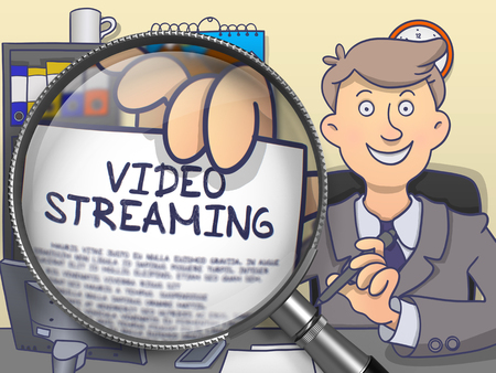 streaming: Video Streaming through Lens. Man Shows Text on Paper. Closeup View. Colored Doodle Illustration.