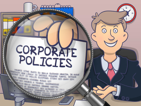 encouraging: Corporate Policies. Paper with Inscription in Business Mans Hand through Lens. Colored Modern Line Illustration in Doodle Style.