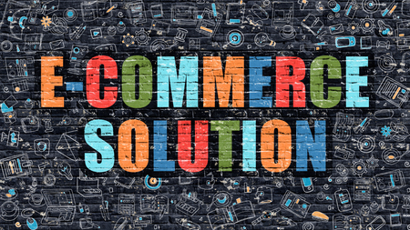 ecommerce icons: E-Commerce Solution Concept. Modern Illustration. Multicolor E-Commerce Solution Drawn on Dark Brick Wall. Doodle Icons. Doodle Style of E-Commerce Solution Concept. E-Commerce Solution on Wall.