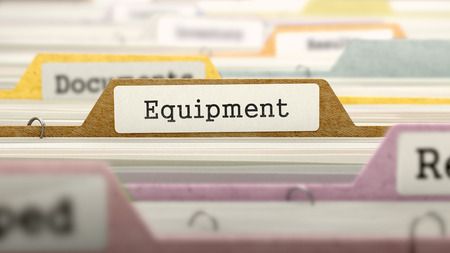 regularity: Equipment Concept on Folder Register in Multicolor Card Index. Closeup View. Selective Focus. 3D Render. Stock Photo