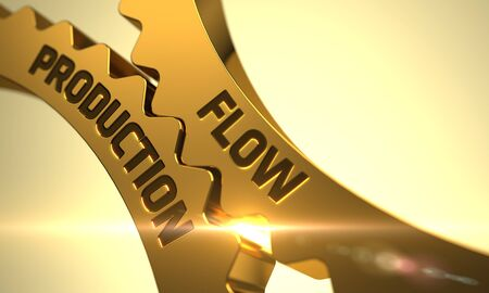 gradually: Flow Production on Mechanism of Golden Metallic Cogwheels. Golden Metallic Cogwheels with Flow Production Concept. Flow Production on the Mechanism of Golden Metallic Cogwheels with Glow Effect. 3D. Stock Photo