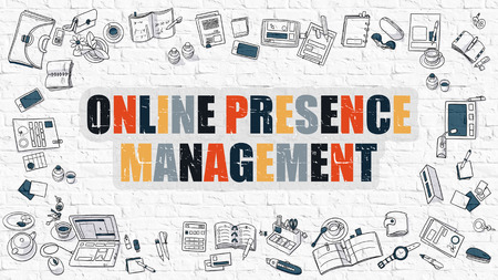 online internet presence: Multicolor Concept - Online Presence Management - on White Brick Wall with Doodle Icons Around. Modern Illustration with Doodle Design Style. Stock Photo