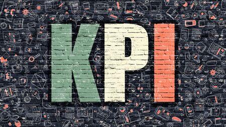 implement: KPI - Key Performance Indicator - Concept. Modern Line Style Illustration. Multicolor KPI Drawn on Dark Brick Wall. Doodle Icons. Doodle Design Style of  KPI Concept. KPI on Dark Brick Wall. KPI.