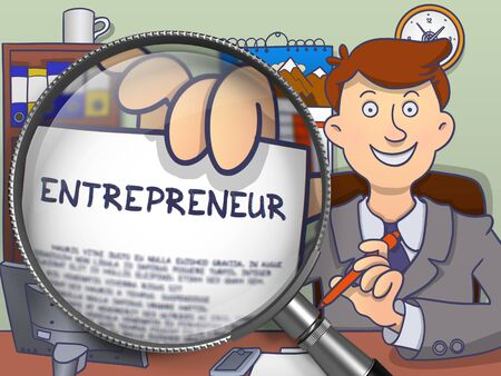 innovator: Entrepreneur through Magnifying Glass. Man Holds Out a Paper with Concept. Closeup View. Multicolor Doodle Illustration. Stock Photo