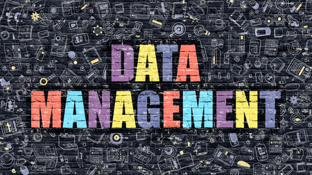 systematization: Data Management - Multicolor Concept on Dark Brick Wall Background with Doodle Icons Around. Modern Illustration with Elements of Doodle Style. Data Management on Dark Wall.