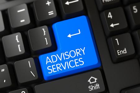Concepts of Advisory Services, with a Advisory Services on Blue Enter Key on Modernized Keyboard. Advisory Services Close Up of Modernized Keyboard on a Modern Laptop. 3D.
