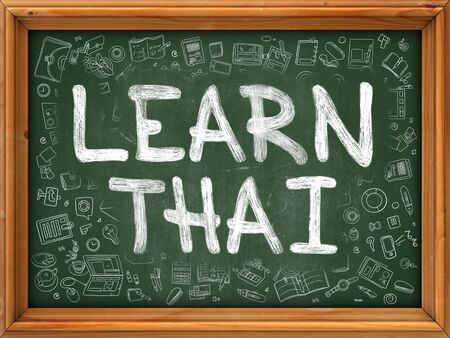 polyglot: Learn Thai Concept. Line Style Illustration. Learn Thai Handwritten on Green Chalkboard with Doodle Icons Around. Doodle Design Style of  Learn Thai.