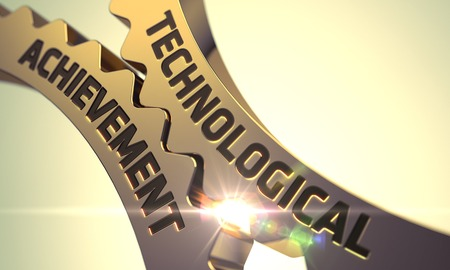 technological: Technological Achievement on the Mechanism of Golden Gears with Lens Flare. Golden Metallic Cogwheels with Technological Achievement Concept. 3D Render. Stock Photo