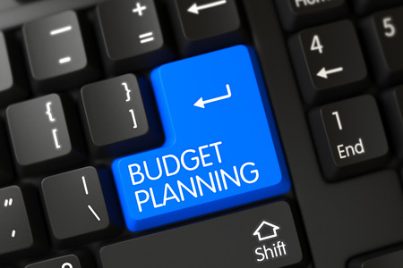 Budget Planning Concept: Modern Laptop Keyboard with Budget Planning, Selected Focus on Blue Enter Button. Budget Planning on Computer Keyboard Background. 3D Illustration. Banco de Imagens
