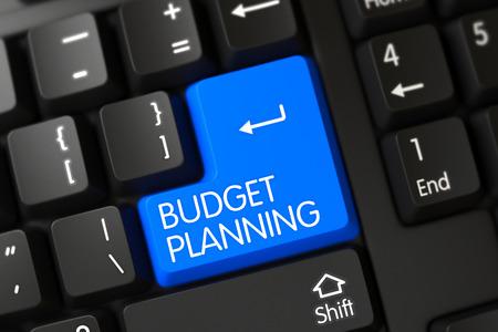 Budget Planning Concept: Modern Laptop Keyboard with Budget Planning, Selected Focus on Blue Enter Button. Budget Planning on Computer Keyboard Background. 3D Illustration. Standard-Bild