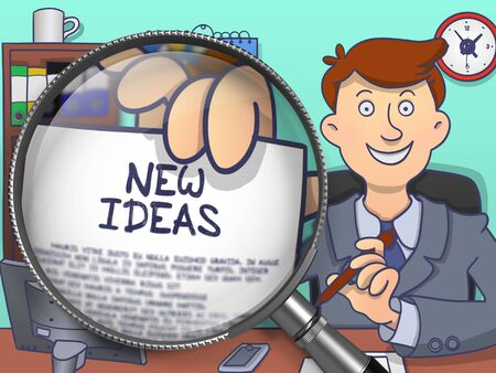 new ideas: New Ideas. Stylish Businessman in Office Showing a Text on Paper through Magnifier. Multicolor Doodle Illustration.