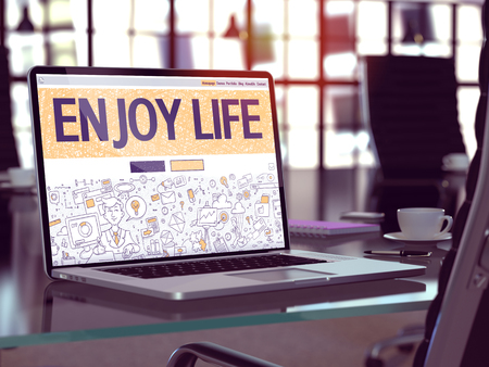 enjoy life: Enjoy Life Concept Closeup on Landing Page of Laptop Screen in Modern Office Workplace. Toned Image with Selective Focus. 3D Render.