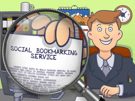bookmarking: Social Bookmarking Service. Businessman Welcomes in Office and Showing a Text on Paper Social Bookmarking Service. Closeup View through Lens. Multicolor Doodle Style Illustration.