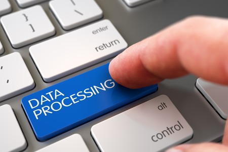 data processing: Hand of Young Man on Data Processing Blue Keypad. Man Finger Pushing Data Processing Blue Key on White Keyboard. Data Processing Concept - Modern Keyboard with Data Processing Button. 3D Illustration. Stock Photo