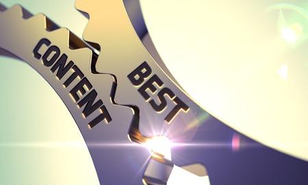 Golden Cogwheels with Best Content Concept. Best Content - Technical Design. Best Content Golden Metallic Cogwheels. Best Content on the Golden Cogwheels. 3D Render. Stock Photo