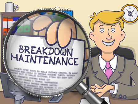 disruption: Breakdown Maintenance. Man in Office Workplace Showing through Magnifier Paper with Concept. Multicolor Modern Line Illustration in Doodle Style.