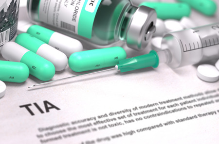 transient: TIA - Transient Ischemic Attack - Printed Diagnosis with Mint Green Pills, Injections and Syringe. Medical Concept with Selective Focus. 3D Render.