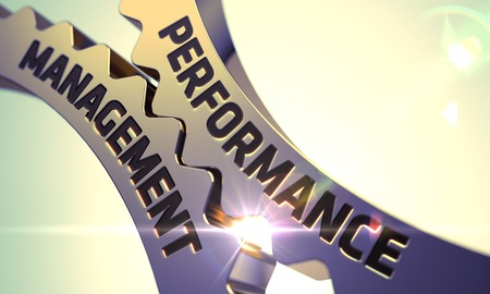 Performance Management on Mechanism of Golden Cogwheels with Glow Effect. Performance Management - Technical Design. Performance Management - Illustration with Glowing Light Effect. 3D.
