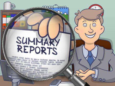 summary: Summary Reports through Lens. Successful Man Welcomes in Office and Holding a Paper with Inscription. Colored Doodle Illustration.