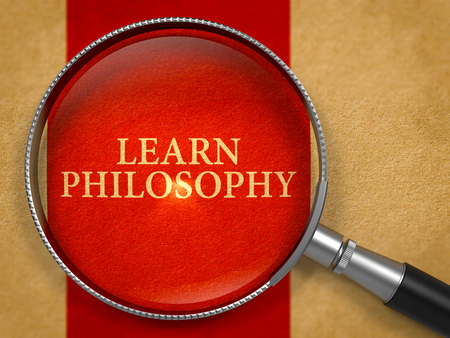 philosophy: Learn Philosophy through Magnifying Glass on Old Paper with Crimson Vertical Line Background. 3D Render. Stock Photo