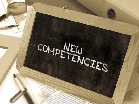 competencies: Hand Drawn New Competencies Concept  on Chalkboard. Blurred Background. Toned Image. 3D Render.