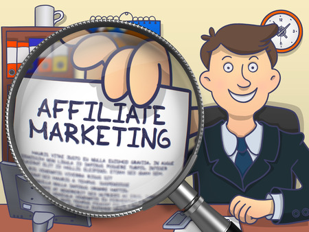 affiliate marketing: Affiliate Marketing. Cheerful Officeman in Office Showing Concept on Paper through Magnifying Glass. Multicolor Modern Line Illustration in Doodle Style. Stock Photo