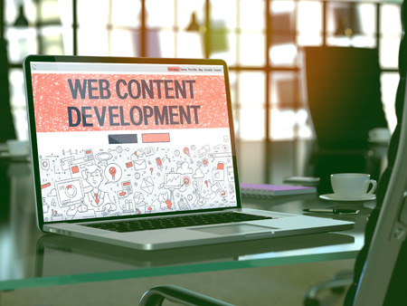relevance: Web Content Development Concept - Closeup on Landing Page of Laptop Screen in Modern Office Workplace. Toned Image with Selective Focus. 3D Render.