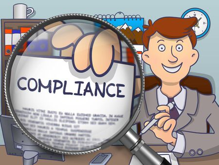 compliant: Officeman Showing Paper with Concept Compliance. Closeup View through Magnifying Glass. Colored Doodle Style Illustration.
