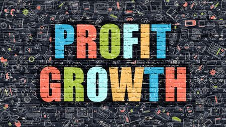 profitability: Profit Growth. Multicolor Inscription on Dark Brick Wall with Doodle Icons. Profit Growth Concept in Modern Style. Doodle Design Icons. Profit Growth on Dark Brickwall Background. Stock Photo