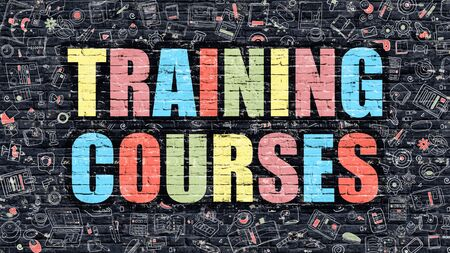 brickwall: Training Courses. Multicolor Inscription on Dark Brick Wall with Doodle Icons. Training Courses Concept in Modern Style. Doodle Design Icons. Training Courses on Dark Brickwall Background.