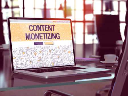 cpl: Content Monetizing Concept - Closeup on Landing Page of Laptop Screen in Modern Office Workplace. Toned Image with Selective Focus. 3D Render. Stock Photo