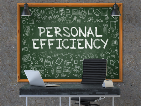 coherence: Hand Drawn Personal Efficiency on Green Chalkboard. Modern Office Interior. Dark Old Concrete Wall Background. Business Concept with Doodle Style Elements. 3D. Stock Photo