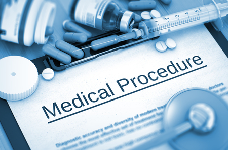 medical procedure: Medical Procedure, Medical Concept with Pills, Injections and Syringe. Medical Procedure, Medical Concept with Selective Focus. 3D. Stock Photo