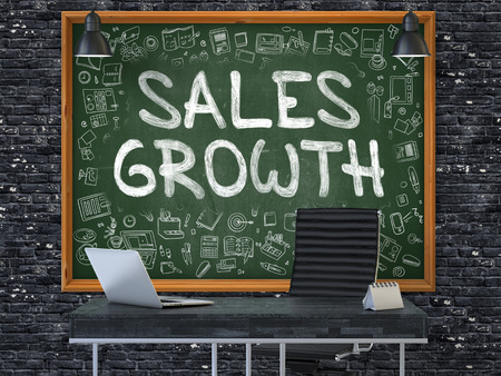 sales growth: Sales Growth - Hand Drawn on Green Chalkboard in Modern Office Workplace. Illustration with Doodle Design Elements. 3D.