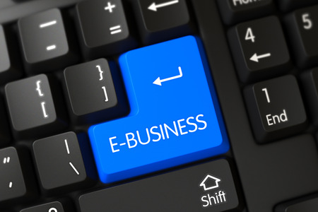 ebusiness: E-business on Modern Keyboard Background. E-business Concept: Computer Keyboard with E-business on Blue Enter Button Background, Selected Focus. 3D Render. Stock Photo
