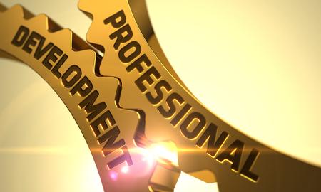professional development: Professional Development on the Golden Metallic Gears. Professional Development - Concept. Professional Development on Mechanism of Golden Metallic Cogwheels. 3D Render.