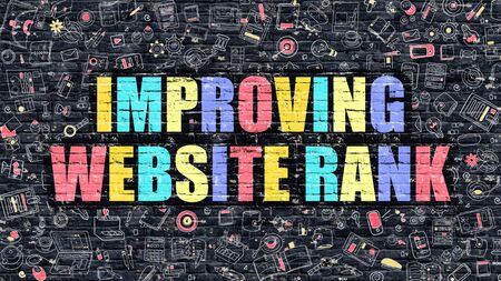 page rank: Improving Website Rank Concept. Improving Website Rank Drawn on Dark Wall. Improving Website Rank in Multicolor. Improving Website Rank Concept in Modern Doodle Style. Stock Photo