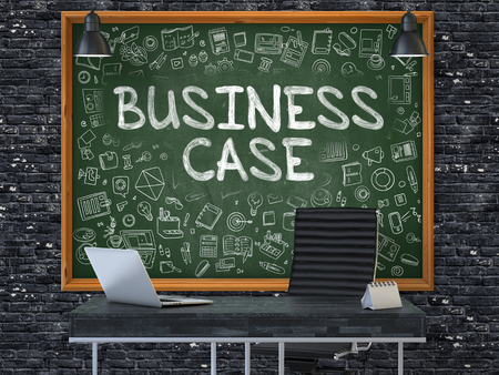 business case: Business Case - Handwritten Inscription by Chalk on Green Chalkboard with Doodle Icons Around. Business Concept in the Interior of a Modern Office on the Dark Brick Wall Background. 3D. Stock Photo