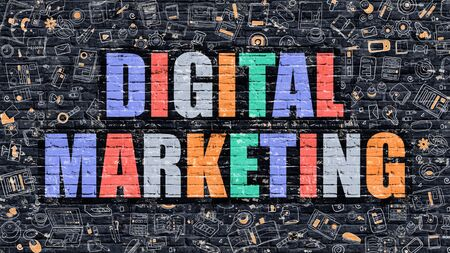 brickwall: Digital Marketing. Multicolor Inscription on Dark Brick Wall with Doodle Icons. Digital Marketing Concept in Modern Style. Doodle Design Icons. Digital Marketing on Dark Brickwall Background. Stock Photo