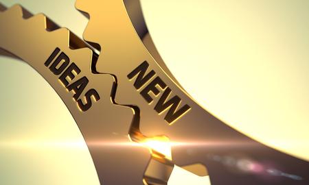 Nuevas ideas de oro Piñones. Nuevas ideas - Diseño Industrial. Nuevas ideas sobre el mecanismo de oro metálicos dentadas Engranajes. Nuevas ideas - Ilustración con la flama de la lente. 3D.