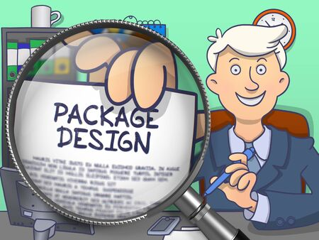 publicidad exterior: Package Design on Paper in Businessmans Hand through Magnifying Glass to Illustrate a Business Concept. Colored Modern Line Illustration in Doodle Style.