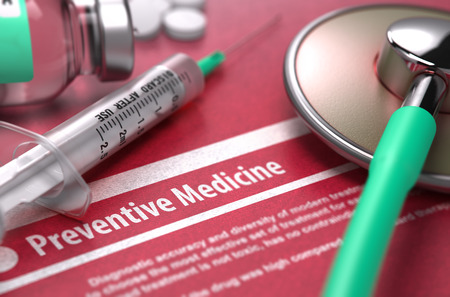 preventive medicine: Preventive Medicine - Medical Concept on Red Background with Blurred Text and Composition of Pills, Syringe and Stethoscope. 3D Render.