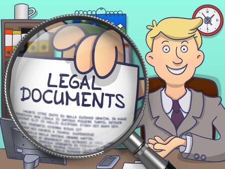 documentos legales: Hombre de negocios en la oficina lugar de trabajo se un papel con el texto Documentos legales. Primer punto de vista a trav�s de la lente. Ilustraci�n de estilo dibujo coloreado.
