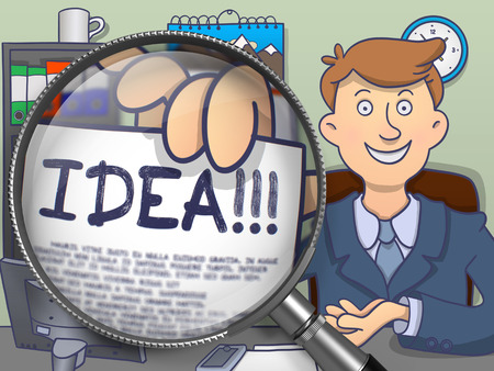 originative: Man Showing a Paper with Text Idea. Closeup View through Lens. Colored Doodle Illustration. Stock Photo