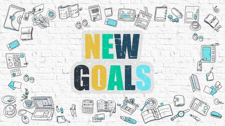accomplishments: New Goals Concept. Modern Line Style Illustration. Multicolor New Goals Drawn on White Brick Wall. Doodle Icons. Doodle Design Style of New Goals Concept. Stock Photo