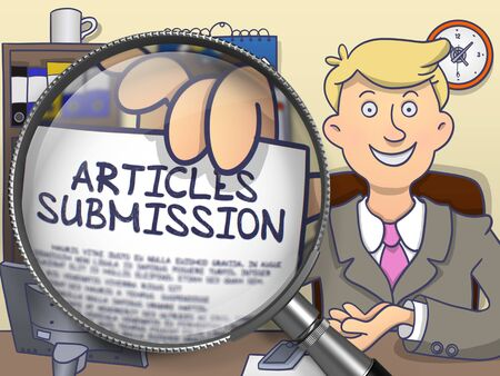 articles: Articles Submission. Concept on Paper in Businessmans Hand through Lens. Multicolor Doodle Style Illustration.