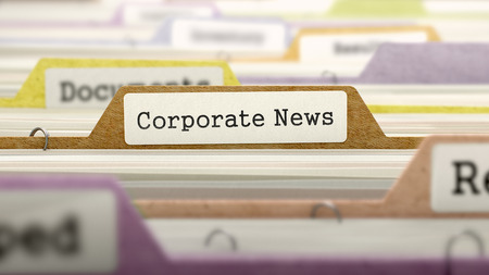 domestic policy: Corporate News on Business Folder in Multicolor Card Index. Closeup View. Blurred Image. 3D Render. Stock Photo