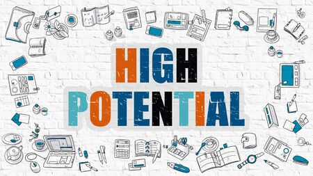 potential: High Potential - Multicolor Concept with Doodle Icons Around on White Brick Wall Background. Modern Illustration with Elements of Doodle Design Style.